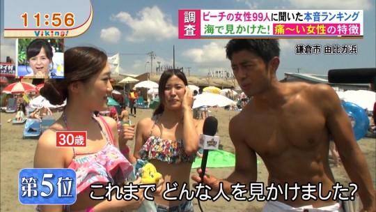 【※画像あり※】フジの筋肉アナ榎並がビーチインタビューするとギャルは必ずこの表情。さぁキャプ見てイライラしようず。・1枚目