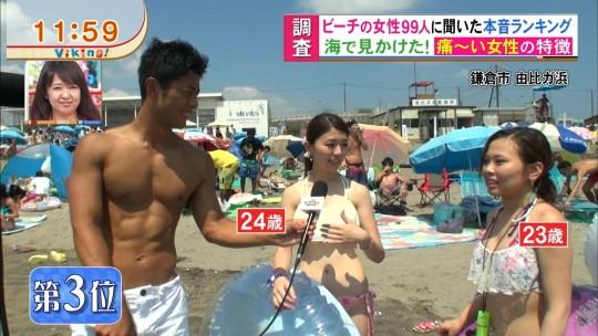 【※画像あり※】フジの筋肉アナ榎並がビーチインタビューするとギャルは必ずこの表情。さぁキャプ見てイライラしようず。・15枚目