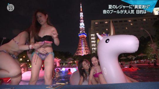 【ハッシュタグ検索推奨】最近インスタ女子に人気とTVで紹介されまくりな東京プリンスのナイトプール、こりゃ確かにエロ自撮りが捗るなwwwwwwwwwww(画像あり)・33枚目