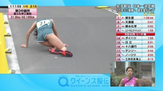 【悲報】駅伝女子、走破して力尽きて倒れ込んだ結果・・・おまえらにとんでもない部分を激写されるwwwwwwwwwwww(画像あり)・18枚目