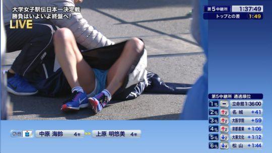 【悲報】駅伝女子、走破して力尽きて倒れ込んだ結果・・・おまえらにとんでもない部分を激写されるwwwwwwwwwwww(画像あり)・2枚目