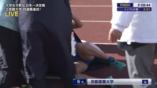 【悲報】駅伝女子、走破して力尽きて倒れ込んだ結果・・・おまえらにとんでもない部分を激写されるwwwwwwwwwwww(画像あり)・8枚目