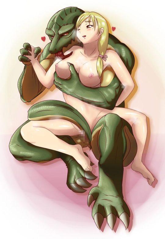 【特殊性癖】ワイ将爬虫類好き、リザードマンや龍種系の爬虫類と異種姦してる二次が少数派過ぎて悲しい・・・・・orz(画像30枚)・6枚目