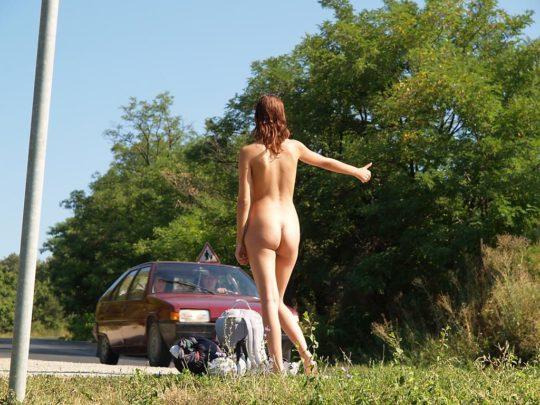【キチガイ】海外のヒッチハイカーまんさん、絶対に車を停車させる技がこちらwwwwwwwwwww・25枚目