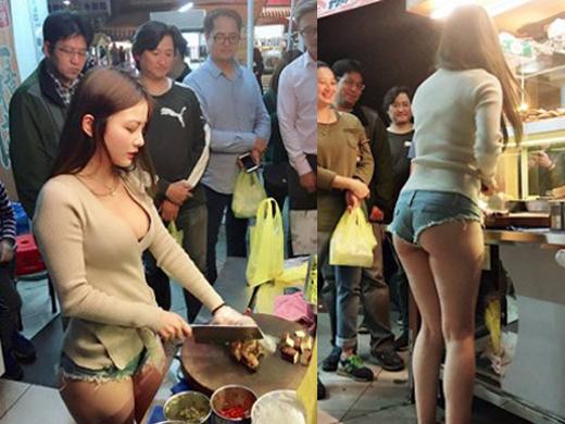 【勃起不可避】台湾の市場 美女がホットパンツで肉を切る姿見たさに客が殺到し売上が4倍にwwwwwww(画像あり)