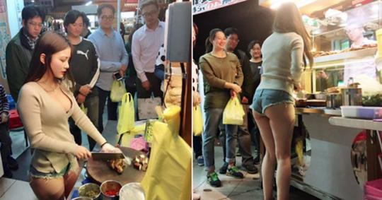 【勃起不可避】台湾の市場 美女がホットパンツで肉を切る姿見たさに客が殺到し売上が4倍にwwwwwww(画像あり)・1枚目